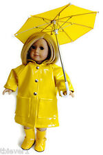 """Yellow Rain Coat, Boots, & Umbrella made for 18"""" American Girl Doll Clothes"""