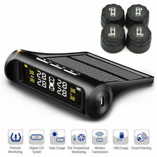 Car TPMS Tire Pressure Monitoring System Solar Wireless + 4 External Sensors
