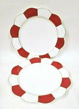 2 PCS SET OF GRACE FINE PORCELAIN RED,WHITE STRIPE+GOLD TRIM DINNER PLATES