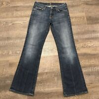 Seven 7 For All Mankind Womens Size 26 Low Rise Jeans Dark Wash Blue Bootcut