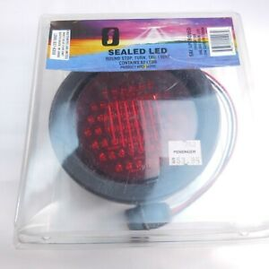 Red 62 LED Round Truck Trailer Rubber Mount Stop Turn Tail Brake light Sealed