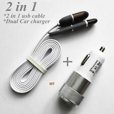 2 in 1 Micro USB and 8 Pin Sync Data Charging Cable iPhone Samsung + CAR CHARGER