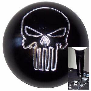 Black Aluminum Punisher Skull shift knob Dodge Chrys Jeep Auto w/ Blk Adapter