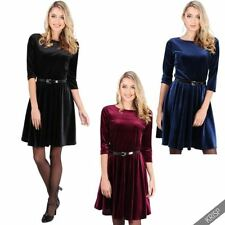 3/4 Sleeve Solid Dresses for Women with Belt