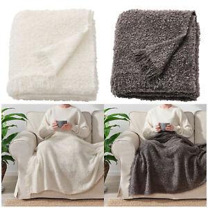 New Ikea EVALI Throw Soft Blanket Travel Bedspread Warm Off-White/Grey 130x170cm