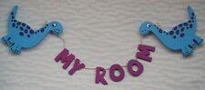 """Dinosaur Door Plaque """"My Room"""" Childrens Bedroom Wooden Garland Door Sign"""