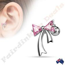 316L Surgical Steel Silver Ion Plated Tragus/Cartilage Stud with Pink CZ Ribbon