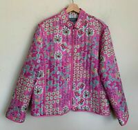Koret Pink Quilt Jacket Floral Pink Print Zip Front Pockets Lined Size L