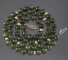 "Antique Nephrite Jade Necklace Strand VTG Bead Knotted Sterling Silver 19"" 6mm"
