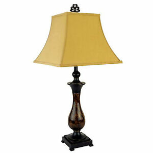 "30"" Tall Polyresin Table Lamp with Gold and Brown finish, Goldtone Linen Shade"