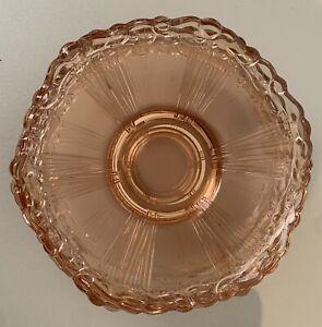 Pink Depression Glass Dessert Plates X5 - Vintage 1920/30