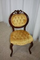 Kimball Victorian Balloon Back Gold Tufted Side Chair