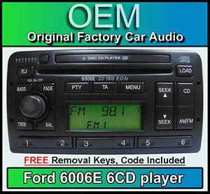 Ford Escort 6 Disc changer radio, Ford 6006E 6 CD player stereo + keys & code