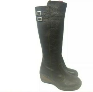 Lassen Knee High Tall Boots Wedge Zip Insulated Womens Brown Leather Size 7.5 M