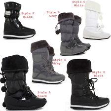 Womens Winter Wellies Wellington Ski Fur Rain Ladies Snow Boots Size 3 4 5 6 7 8
