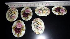 6 Cabochon Steine Brosche DIY rosa lila Rose Anemone bunt 40x30mm Deko Schmuck