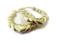 14k Yellow Gold Heart Hoop Ladies Earrings ~ 1.7g