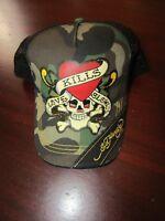 mens ed hardy trucker mesh baseball cap nwt loves kills slowly camo