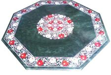 Green Marble Coffee Table Top Carnelian Mosaic Floral Marquetry Rare Decor H2876