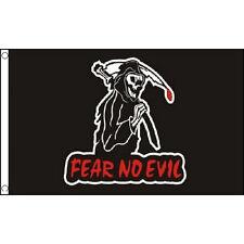 Fear No Evil Flag 5Ft X 3Ft Halloween Skeleton Grim Reaper Gothic Banner New