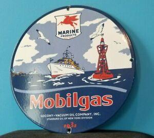VINTAGE MOBIL MOBILGAS PORCELAIN PEGASUS OUTBOARD GAS MOTOR OIL SERVICE SIGN