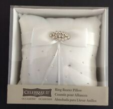 Celebrate It Ring Bearer Pillow, Rhinestones/White Satin/Pearls-New w/Box
