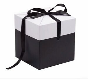 Extra Large Ribbon Gift Box Black White Grey Gift Present All Occasions