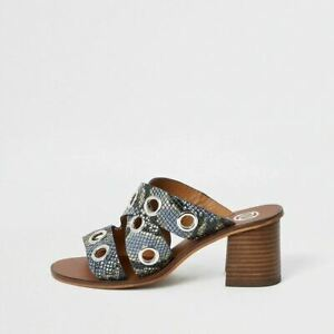 River Island Womens Blue Leather Print Eyelet Block Heel Mules