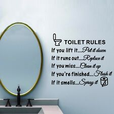 Toilet Rules Bathroom Removable Wall Sticker Vinyl Art Decals DIY Room Decor USA