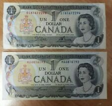 LOT OF 2  1973   CANADA ONE 1 $  DOLLAR BILL  1973  SEE PHOTOS