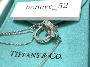 Auth TIFFANY&Co. 1837 Interlocking Circles Necklace Pendant Silver 925 w/BOX