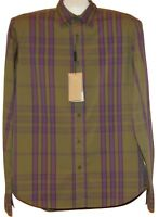 Burberry Men's Green Purple Plaids Cotton Casual Dress Shirt Size XL New