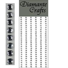 150 x 4mm Clear Diamante Self Adhesive Strips Rows Rhinestone Craft Gems