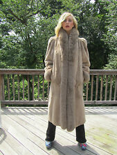 Reversible Beige Sheared Dyed Nutria with Rayon Raincoat and Fox Tuxedo & Trim