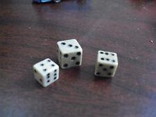 Lot of 3 Antique Miniature Dice Die - Bone or Similar Material LOOK
