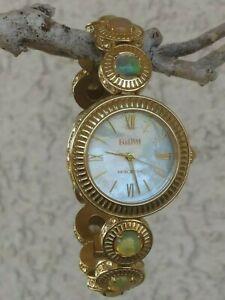 "Ecclissi Ethiopian Opal Bracelet Watch MOP Dial Gold Tone Stainless 7"" New Batte"