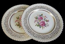 Two Vin Johnson Bros Old English Bread & Butter Plates Floral & Gold Filigree