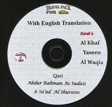 Al Quran Audio CD for cars With English Translation-Surah's Kahf,yaseen & Waqia