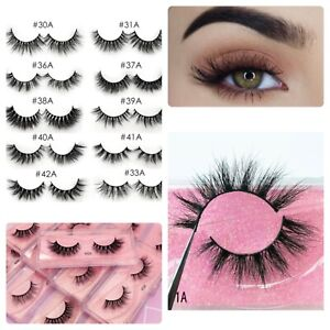 1 Pair 3D Mink Eyelashes Fluffy Dramatic Eyelashes Makeup Wispy Mink Lashes