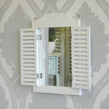 Espejo de pared blanca con persianas Pasillo Shabby Vintage Chic Hogar Accesorio Regalo