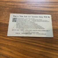 New York MUTUAL LIFE INSURANCE Advertising CARD Vintage
