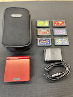 Nintendo GBA Gameboy Advance SP AGS-001 Flame Red Bundled Orig Owner Great Cond