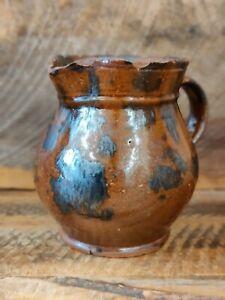Antique primitive 19th C Redware Stoneware creamer manganese stitches throughout