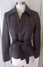 J. Crew 0 Black Brown Herringbone Wool Robert Noble Scotland Tie Lined Jacket