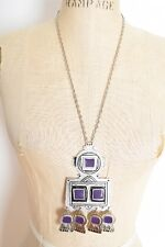 vintage 90s necklace silver-color enamel robot southwest huge dangle pendant
