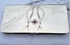 Imperial Russian silver purse fitted interior amethyst c1910