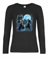 Langarmshirts Damen-Three Wolves Howling and Moon, Wolf