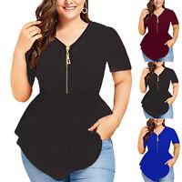 Plus Size Women Short Sleeve Zip V Neck Blouse Top Irregular Party Tunic T-shirt