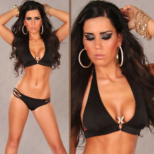Halter Neck Push-Up Bikini with Snake Buckle Black Size Size 10  ❤ Free Post!