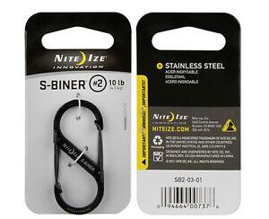 "Nite Ize S-Biner Black Stainless Steel Size #2 (2""), Carabiner"